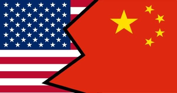 U.S. and China flags clashing.