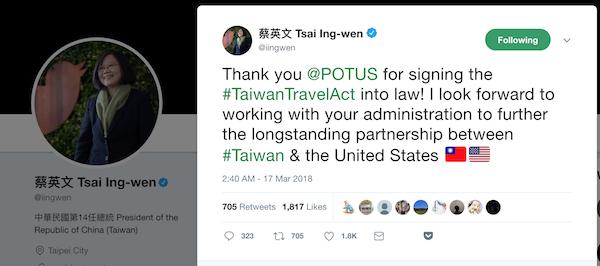 美國總統川普(Donald Trump)簽署《台灣旅行法》,總統蔡英文推特(Twitter)發文表達感謝(圖片截自總統蔡英文推特 http