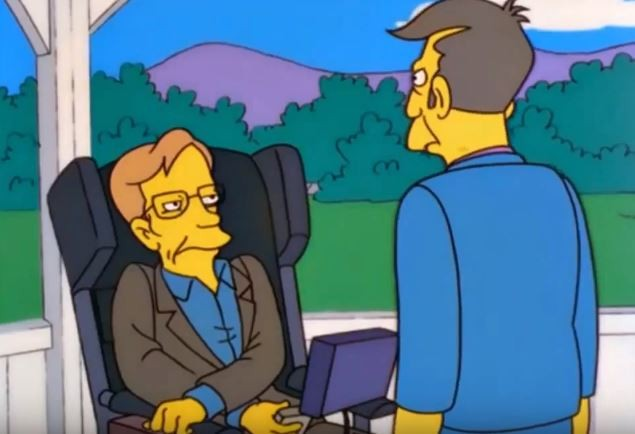 霍金在1999年「客串」演出辛普森(圖片來源:翻攝自youtube)