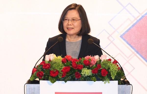 總統蔡英文21日晚間出席台北美國商會2018年度謝年飯晚宴