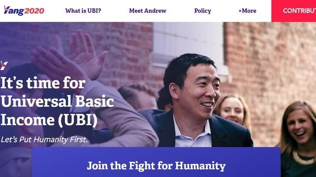 Taiwanese-American U.S. presidential contender Andrew Yang (image from his website yang2020.com).