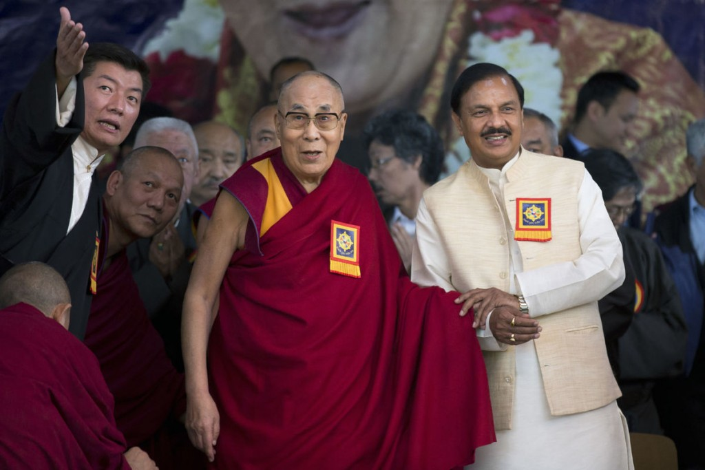 Leader of the Tibetan Govt.-in-exile, Lobsang Sanjay (Left) with the Dalai Lama and the Indian Minister of Culture and Tourism Mahesh Sharma (right)