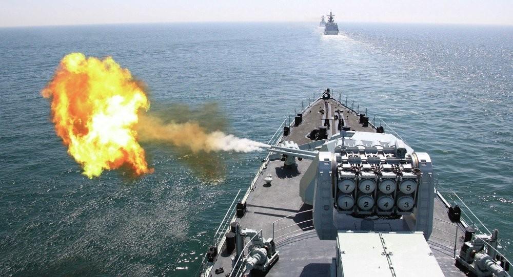 (圖為中共先前在南韓附近海域進行的軍演,圖片來源:美聯社)