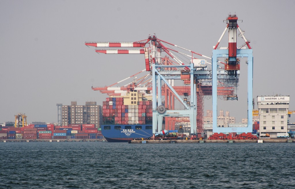 Shipping containers at Kaohsiung Harbor