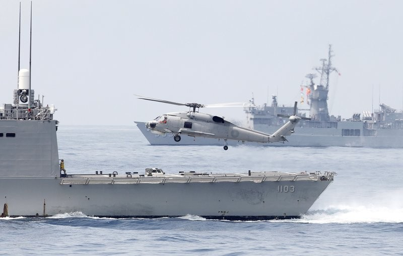 A navy exercise in the bound of Suao navy station (Photo by AP)