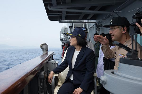 President Tsai observing naval exercises April 13