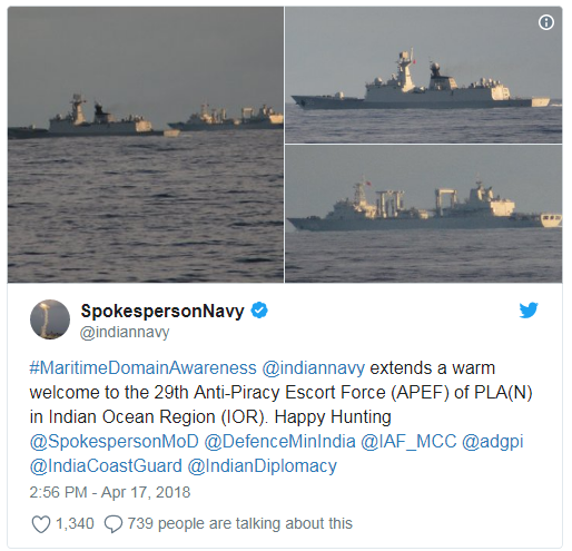Indian Navy puts Chinese Navy on notice with 'Happy Hunting' tweet