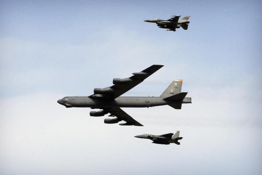 A B-52 bomber (center).