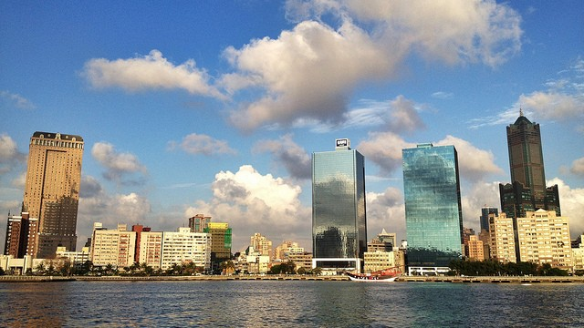 Kaohsiung skyline from the harbor (Image by Flickr user Vic Tsai)