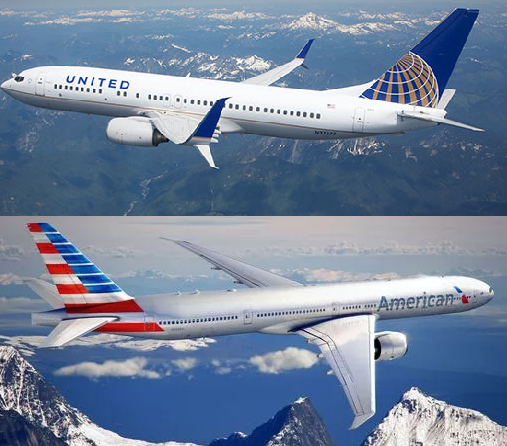 (Images from United Airlines and American Airlines)
