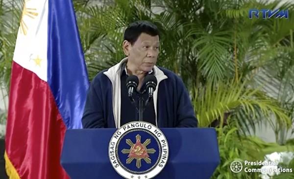Duterte giving speech in Davao, the Philippines.