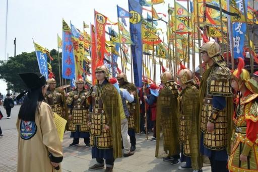Students reenact the landing of famous general Koxinga in southern Taiwan
