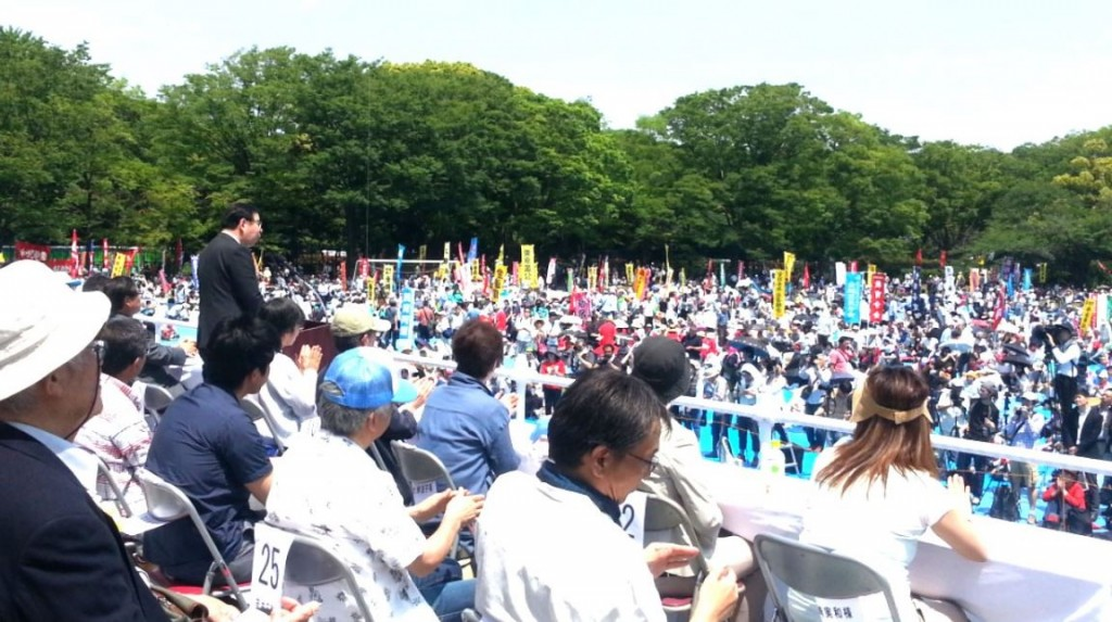 日本第89屆中央勞動節典禮(翻攝自日本共產黨委員長志位和夫推特)