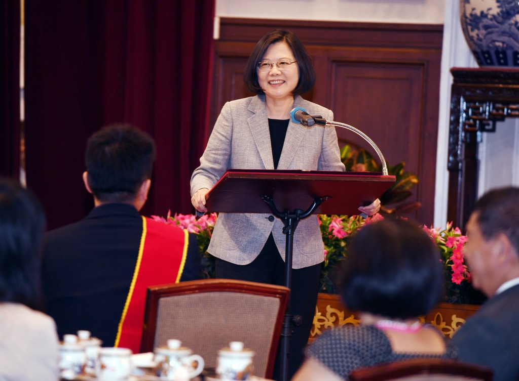 President Tsai Ing-wen at a Labor Day event Tuesday.
