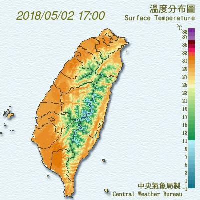 2日午間全台平地出現高溫達30度以上(照片來源:截取中央氣象局)