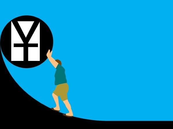 Person pushing up Chinese yuan. (Image by pixabay user Tumisu)