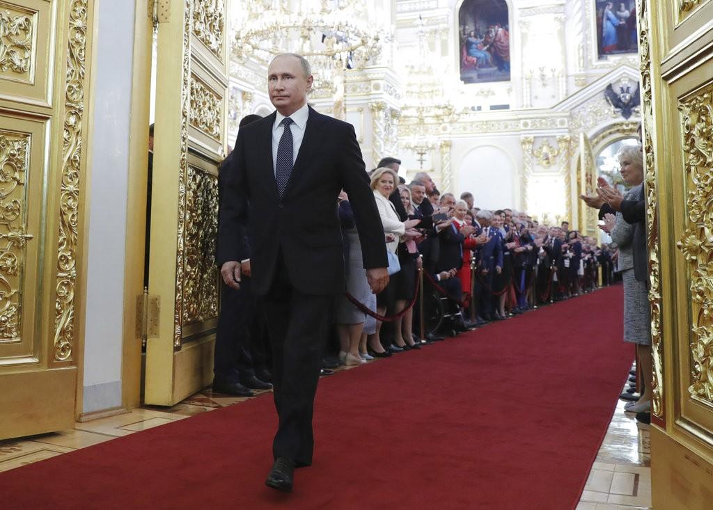 2018年5月俄羅斯總統就任典禮。這是普丁第4度擔任總統職位(美聯社)