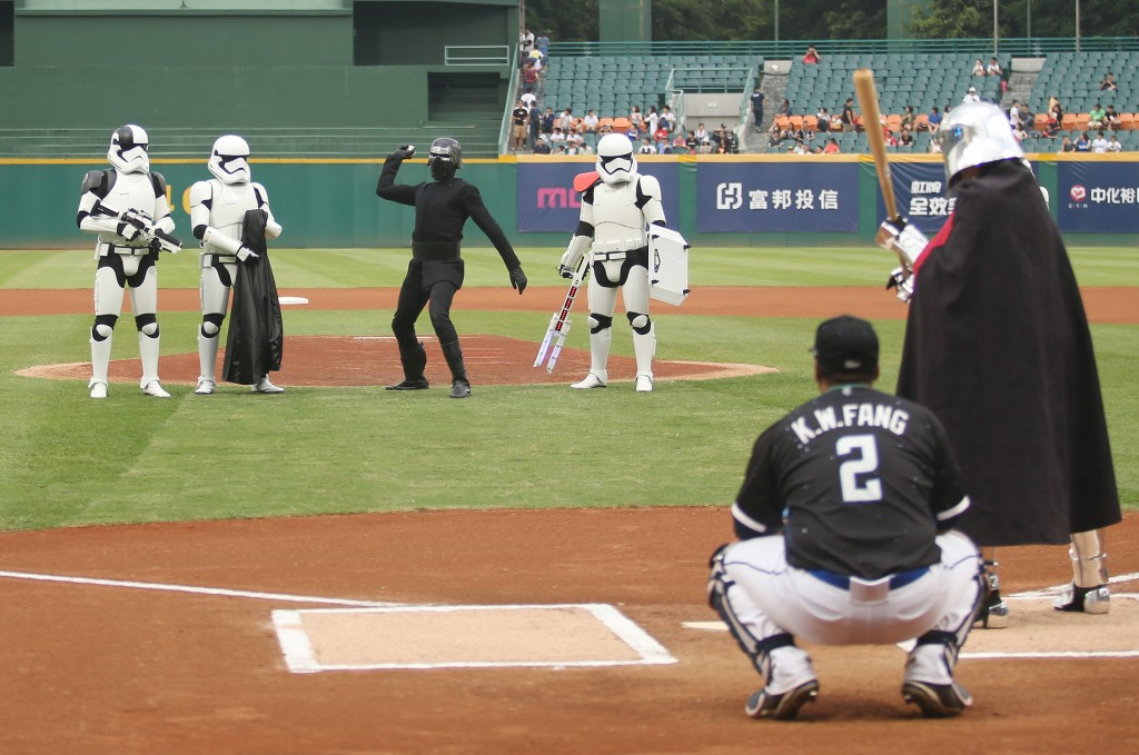 Kylo Ren throws the first pitch.