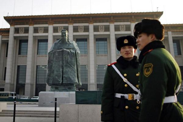 A statue of Confucius near Beijing's Tiananmen Square, 2011.