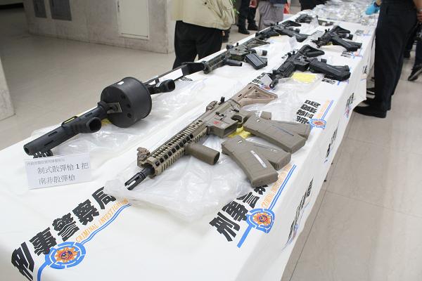Guns seized in Taiwan last week.