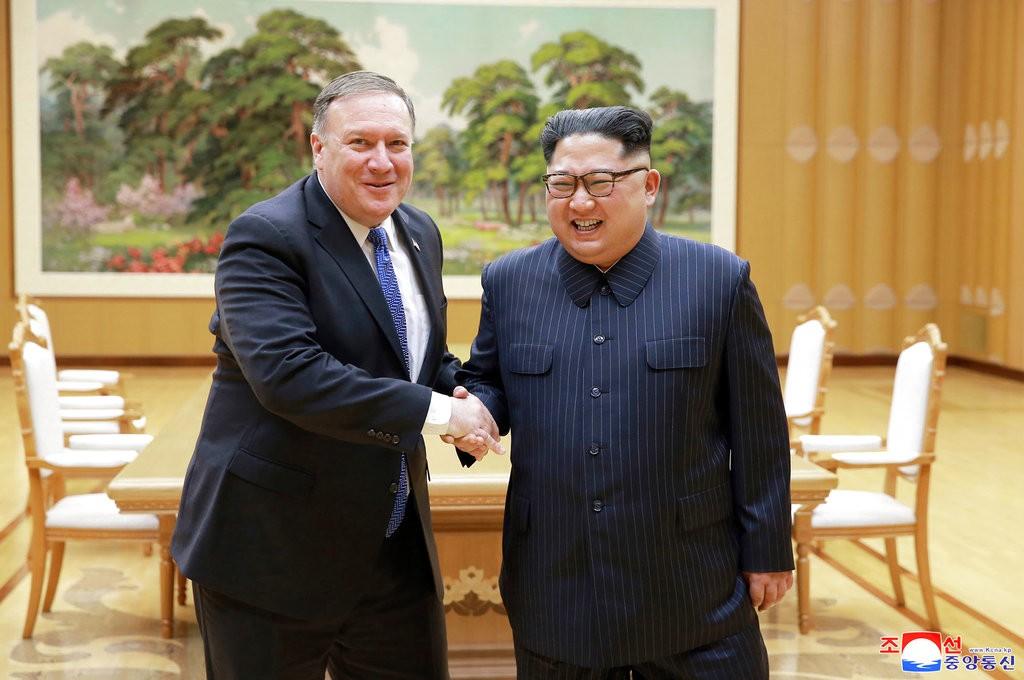 美國國務卿龐皮歐與金正恩會晤(美聯社)