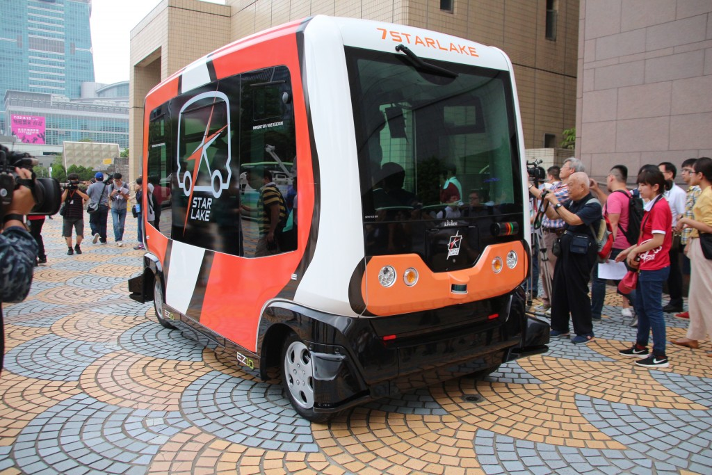 The photo shows a driving demo of an unmanned mini bus in Taipei City during the SmartCity Expo in late March, 2018.