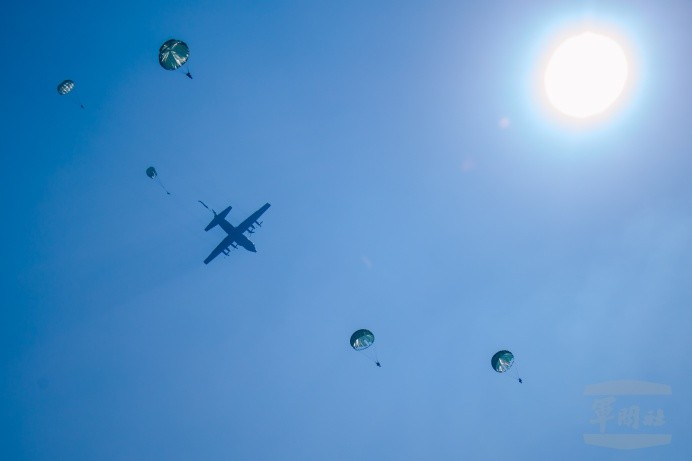 The photo shows a parachute jump training the other day on May 3, 2018. (Image credit: Military News Agency)