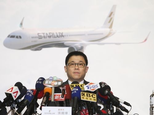 StarLux Airlines Chairman Chang Kuo-wei at the presentation of his airline on May 8.