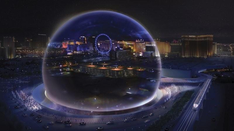 充滿科幻感的MSG Sphere Las Vegas球型館場將坐落賭城(圖/美聯社)