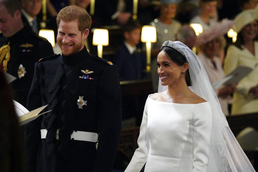 哈利王子與梅根馬克爾,有情人終成眷屬。美聯社