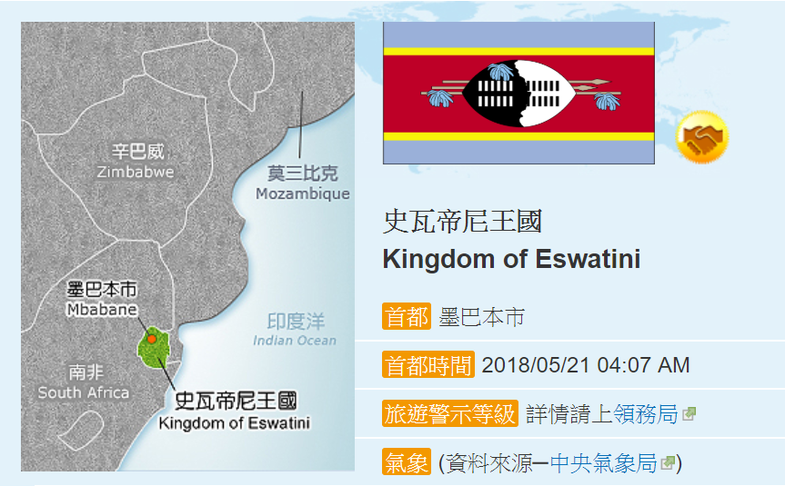 友邦史瓦濟蘭更名為史瓦帝尼王國(圖/外交部網站)