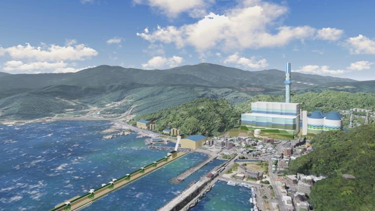 深澳電廠小卷煙囪將設168公尺約50層樓高的空中觀景台,可與潮境公園、九份、金瓜石等形成北海岸觀光旅遊帶。(照片由台電提供)