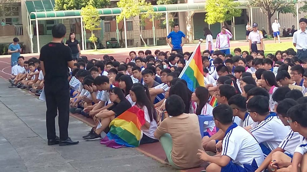 Taiwanese students hang rainbow flags to protest school's cancellation of LGBT lectures