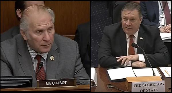美國眾議員夏波(Steve Chabot,左)及國務卿蓬佩奧(Mike Pompeo)
