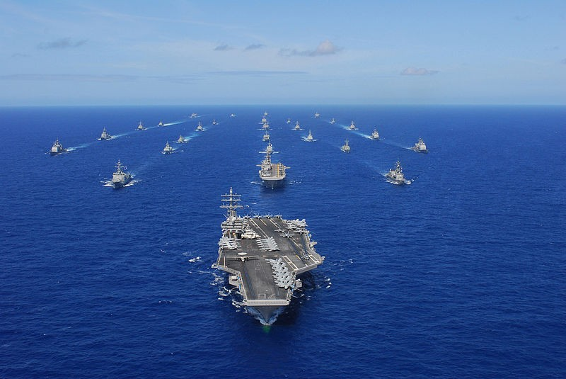 USS Ronald Reagan transits Pacific Ocean with ships assigned to RIMPAC 2010.