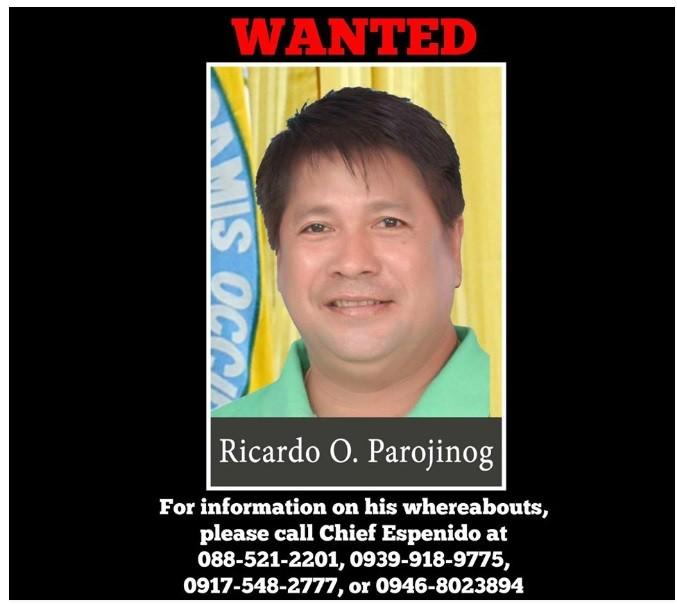圖為菲律賓一名資深警官去年7月在臉書上張貼的RICARDO   PAROJINOG通緝照片(翻攝臉書)
