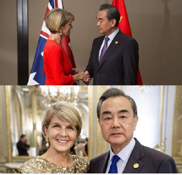 Foreign Ministers Julie Bishop and Wang Yi (Top: Chinese Foreign Ministry, Bottom: Julie Bishop Twitter acct.)