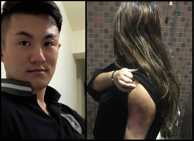The murderer, and a woman purported to be his wife, and a previous victim of his abuse (Images shared on 爆料公社)