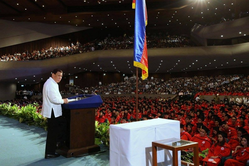 Rodrigo Duterte delivers a speech at the San Beda University commencement ceremony (Photo by Facebook: Government of the Philippines)
