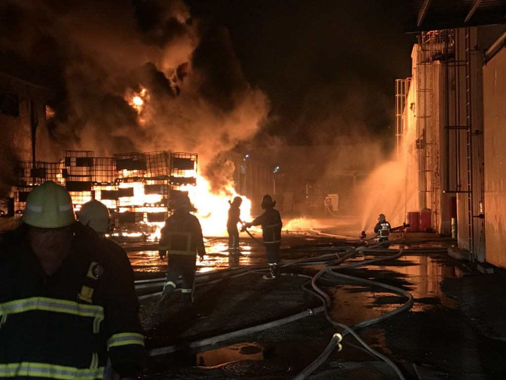 Fire crews attend fire at chemical factory in Shengang Township, Changhua County