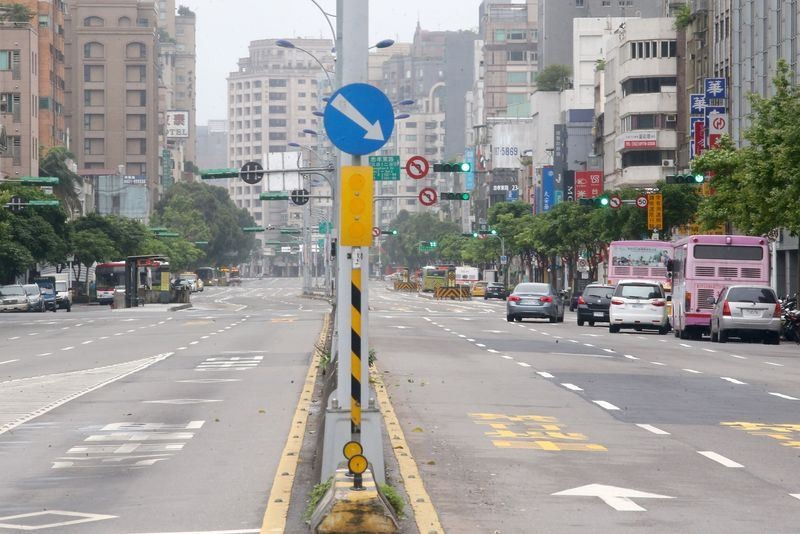 圖為萬安演習道路淨空畫面。(中央社檔案照片)