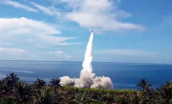 The firing of the Tien Kung II missile from the military base in Taitung