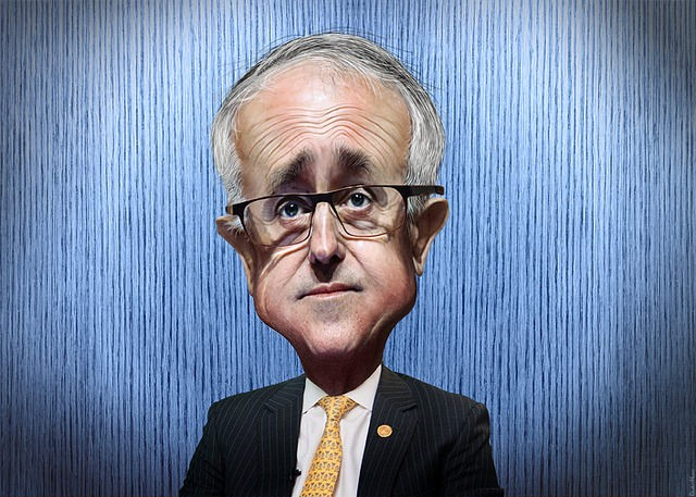 Caricature of Malcolm Turnbull. (Image from flickr user DonkeyHotey)