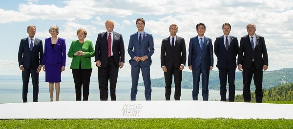 G7峰會各國領袖合照(照片截取自G7峰會推特: twitter.com/g7)