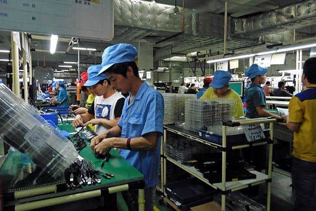 Electronics factory workers in Zhuhai, China
