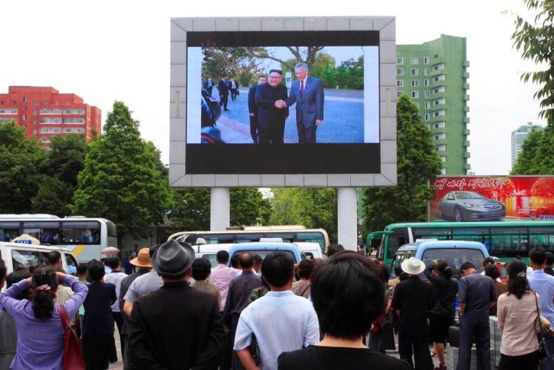 在新加坡召開的川金會,受到全球矚目。圖為北韓首都平壤街頭。美聯社