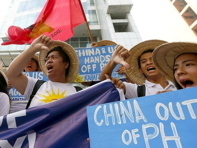 2016 file photo of fishermen protesting China's actions in the South China Sea