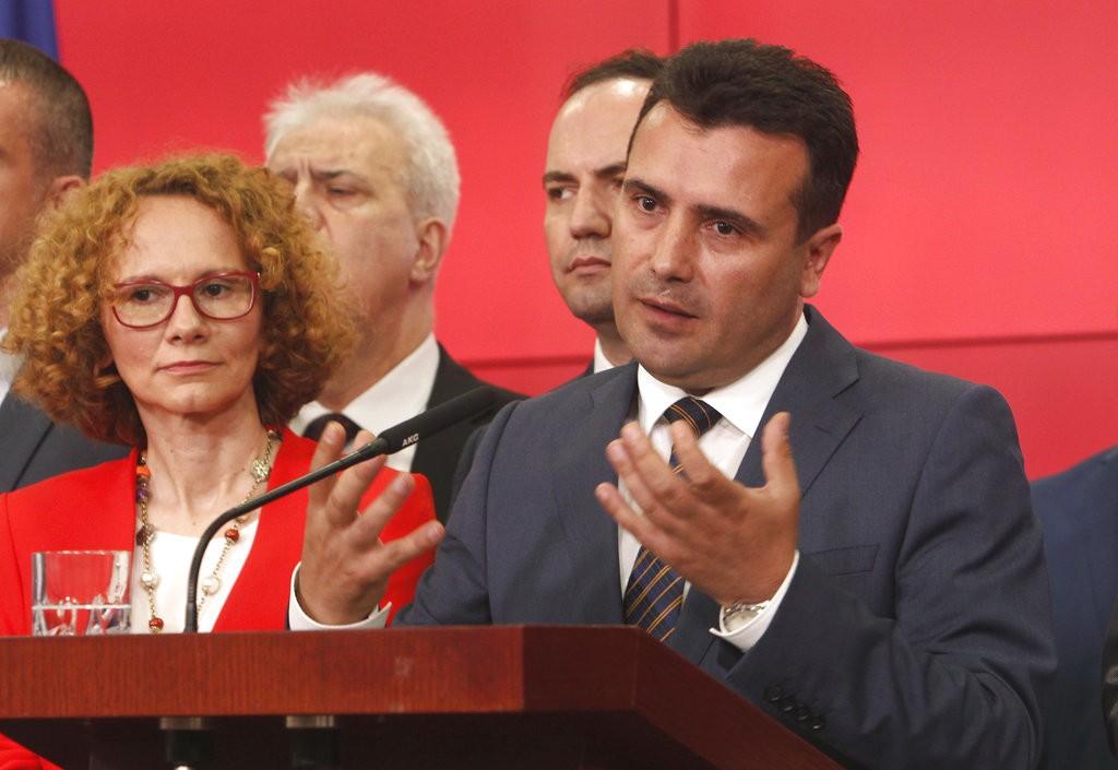 馬其頓總理佐蘭·薩耶夫(發言者。美聯社提供)