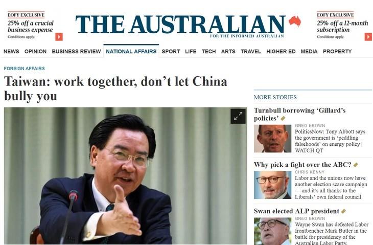 外交部長吳釗燮接受《澳大利亞人報》訪問(圖片來源:截圖自The Australian/外交部提供)