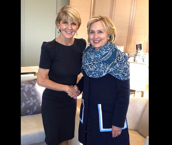 Australian foreign minister Julie Bishop (left) and Hillary Clinton (Photo by FB Julie Bishop)